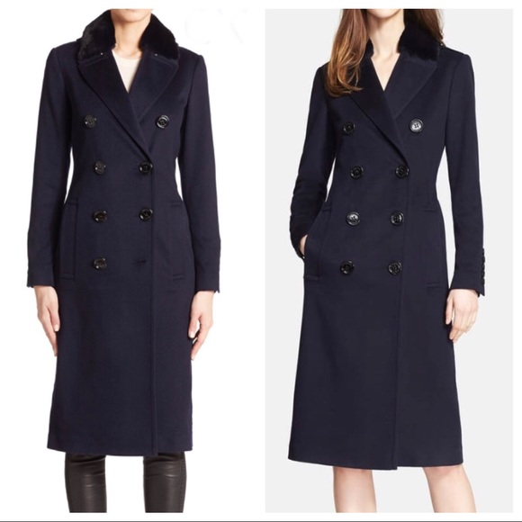 Burberry London cashmere coat with fur collar